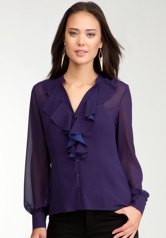 Two Tone Ruffle Front Button Up Blouse - Crown Jewel - S