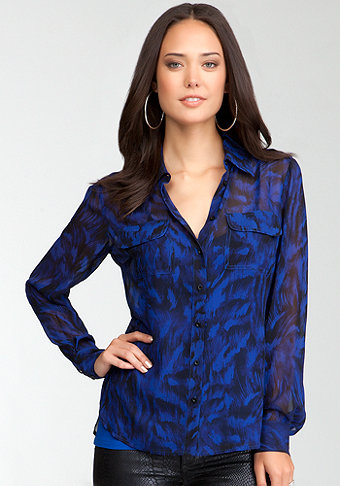 bebe Feather Print Pocket Button Up Blouse