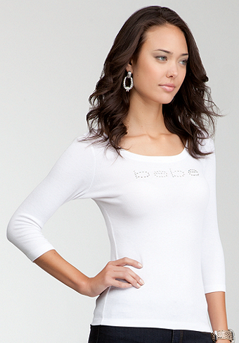 bebe Logo Basic 3/4 Sleeve T-Shirt