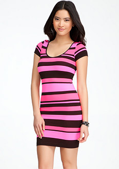 Banded Striped Bodycon Dress - ONLINE EXCLUSIVE at bebe