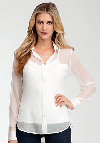 bebe Lurex Chiffon Utility Button Up Blouse
