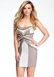 bebe Strapless Contrast Stud Trim Dress