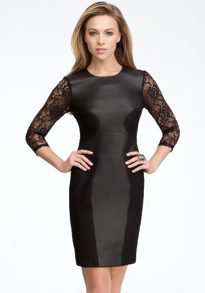 Leather & Lace Contrast Dress - Blk - Xs