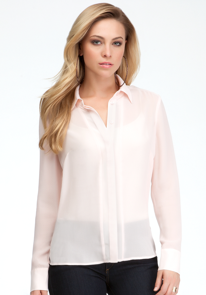 Textured Silk Jacquard Button Up Blouse - Pink Dogwood - M