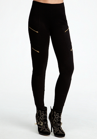 Diagonal Zipper Leggings at bebe