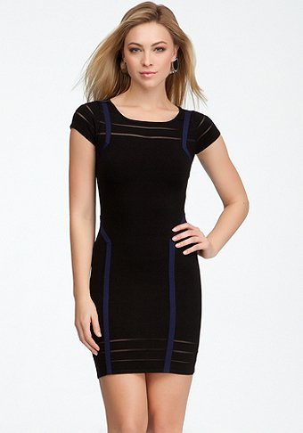 bebe Sheer Stripe Short Sleeve Sweater Dress