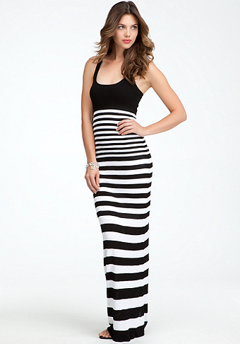 bebe Racer Neck Stripe Maxi Dress