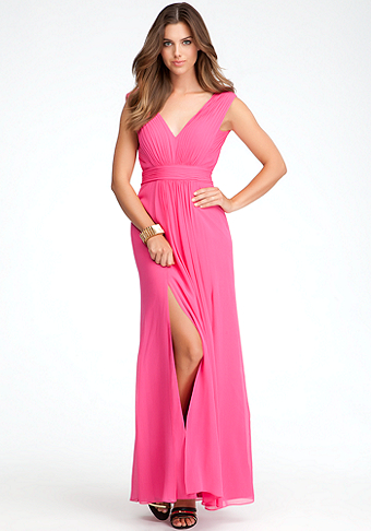 Deep V-Neck Maxi Dress - ONLINE EXCLUSIVE at bebe
