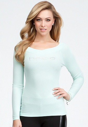 bebe Logo Long Sleeve V-Neck Rib Tee