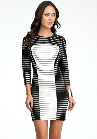 bebe Two Stripe Combo Dress