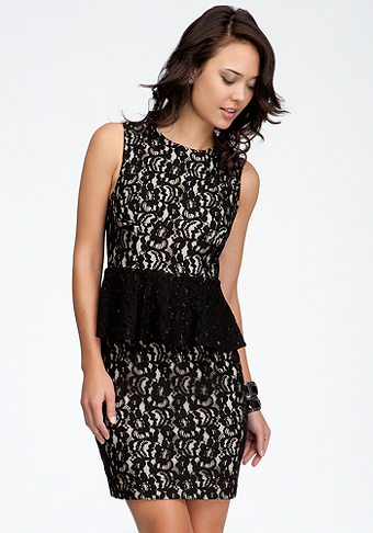 bebe Allover Lace Peplum Dress