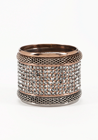 bebe Mesh & Multi Stone Bangle Set