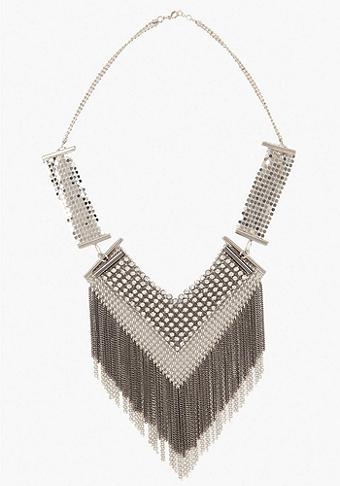 bebe Mesh & Crystal Fringe Statement Necklace