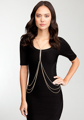 bebe Crystal & Drape Body Chain Jewelry