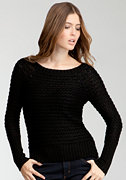 bebe Boatneck Hi-Lo Metallic Sweater