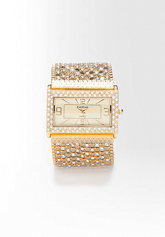 bebe Chainmail Rhinestone Bracelet Watch-WEB EXCLUSIVE