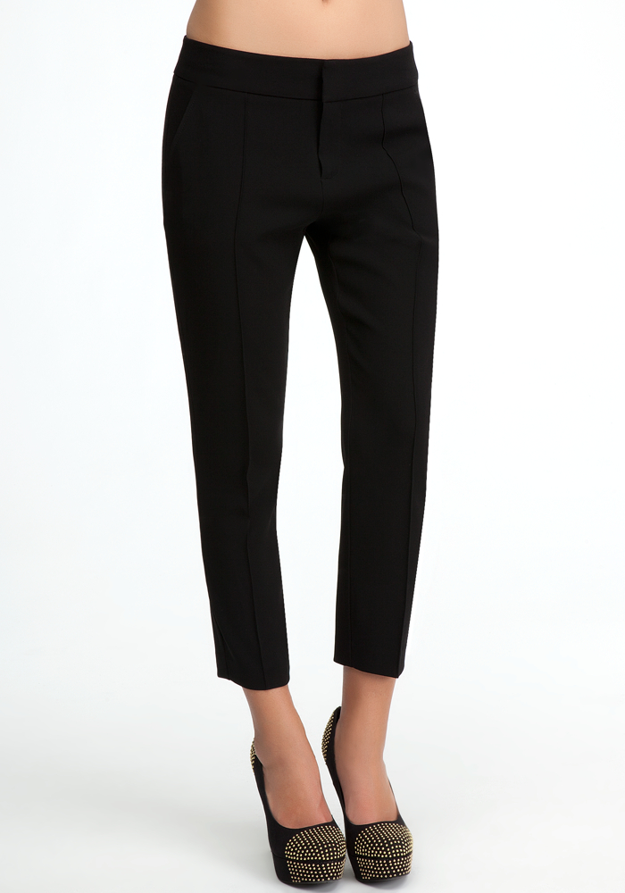 Molly Pintuck Crop Pant - Blk - 0