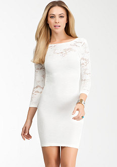 Low Back Lace Bodycon Dress at bebe