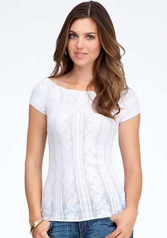 Sheer Flower Lace Top at bebe