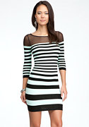 bebe Mesh Shoulder Stripe Bodycon Dress