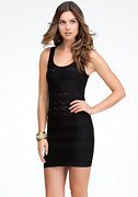 bebe Mixed Ottoman Back Cutout Dress - ONLINE EXCLUSIVE