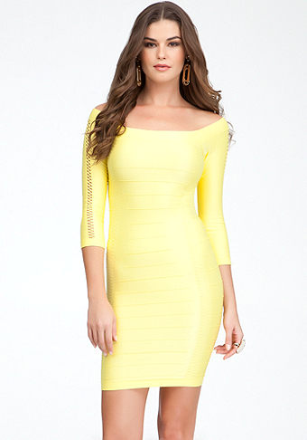 Open Sleeve Shine Bodycon Dress - ONLINE EXCLUSIVE at bebe