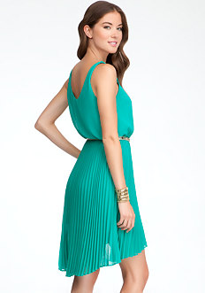 Pleated High Low Dress at bebe