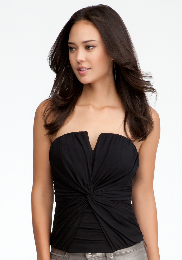Draped Notched Silk Bustier - Jet Black - Xs