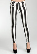 Striped Multi Zip Skinny Jeans at bebe