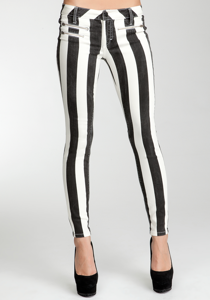 Striped Multi Zip Skinny Jeans