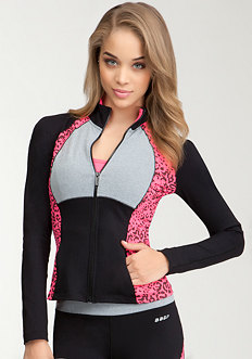 Printed Funnel Jacket -BEBE SPORT ONLINE EXCLUSIVE at bebe