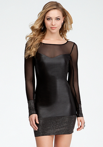 Studded Band Coated Jersey Dress - bebe Addiction at bebe