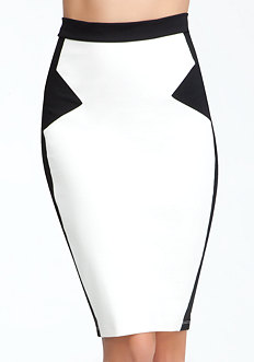 bebe Geometric Black & White Skirt