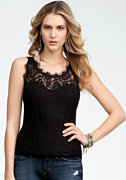bebe Fitted Lace Tank