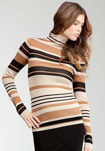 bebe Hi-Neck Striped Sweater Top