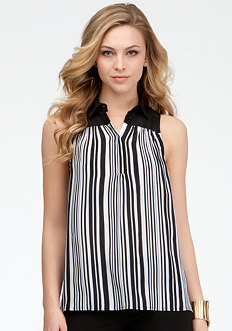 bebe Variegated Stripe Collared Tank