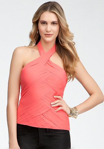 Ruched Seam Halter Top - ONLINE EXCLUSIVE at bebe