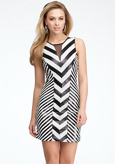 bebe Mixed Sequin Stripe Dress