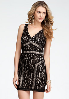 bebe Abstract Lace Square V-Neck Dress
