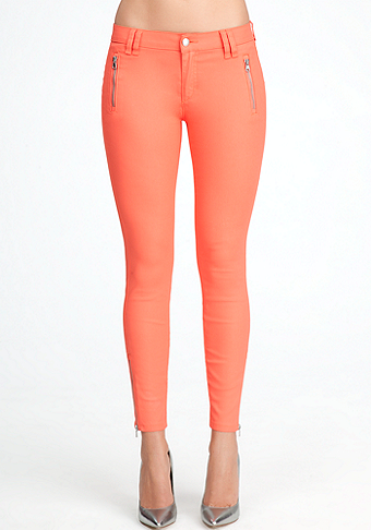 Matte Coated Zipper Skinny Jeans at bebe
