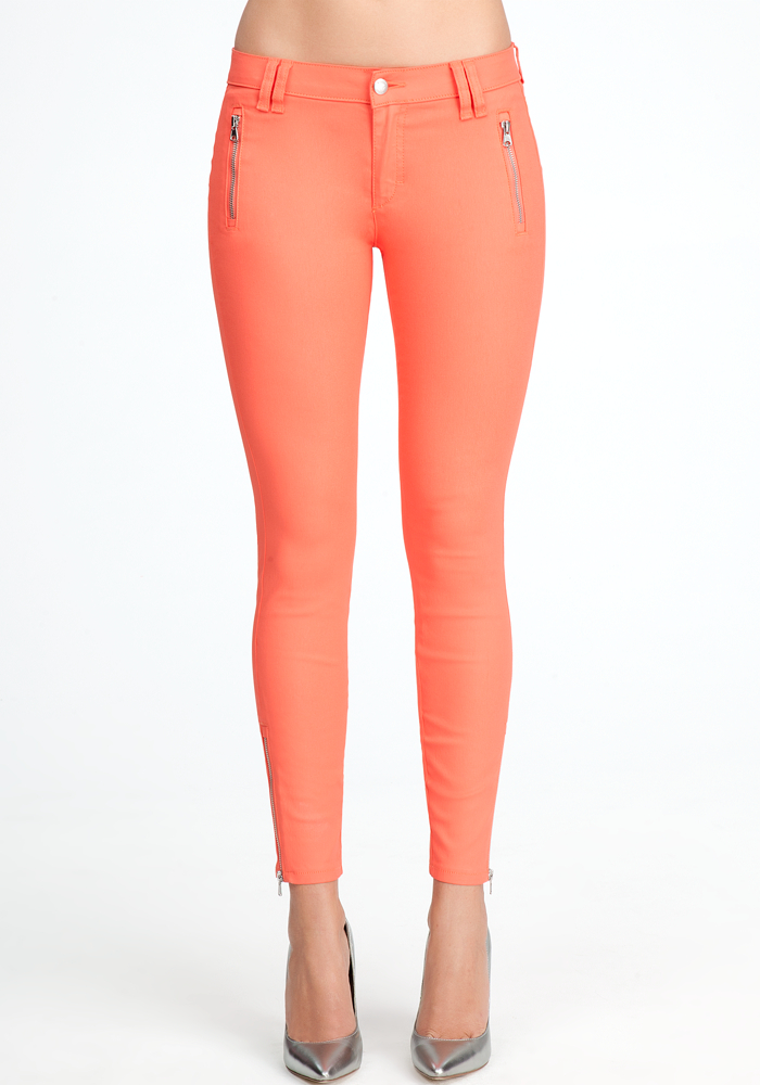 Matte Coated Zipper Skinny Jeans