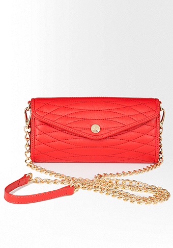 bebe Mini Leather Crossbody Clutch