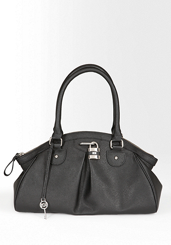 bebe Lock Leather Satchel
