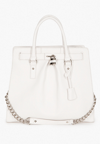 bebe Lock Leather Tote