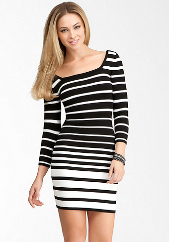bebe Wide Multi Stripe Sweater Dress