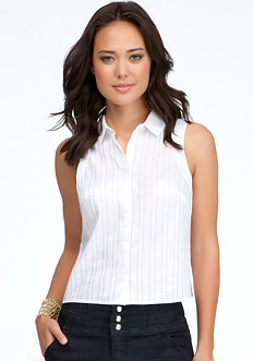 bebe Stripe Button Up Top