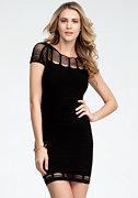 Bar Mesh Textured Dress - ONLINE EXCLUSIVE at bebe