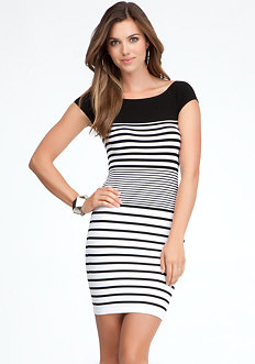 bebe Colorblock Stripe Bodycon Dress