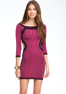 bebe Off Shoulder Crocodile Print Dress