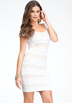 Dotted Mesh Bodycon Dress at bebe